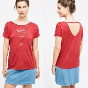 Anthro Tiny Macrame Bib Tee Red Cut Out Back Top M